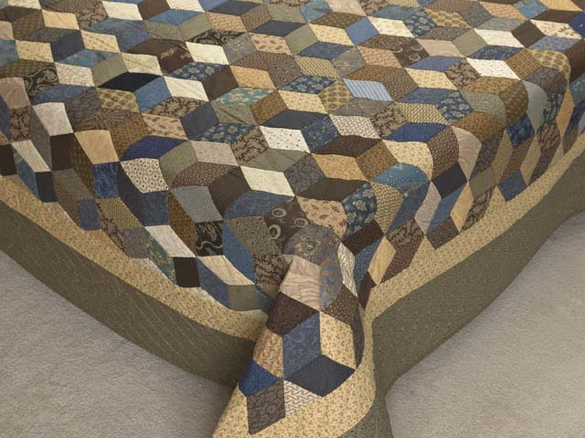 Civil War Colors Tumbling Blocks Quilt Photo 7
