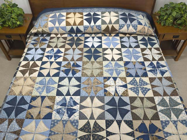 Blue Golden Tan and Brown Winding Ways Quilt Photo 1