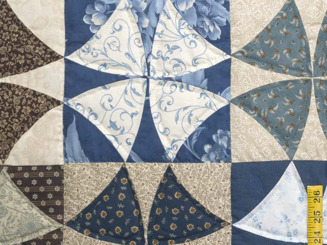 Blue Golden Tan and Brown Winding Ways Quilt Photo 5