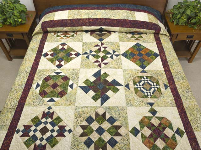 Full Size Batik Patchwork Sampler Quilt Photo 1