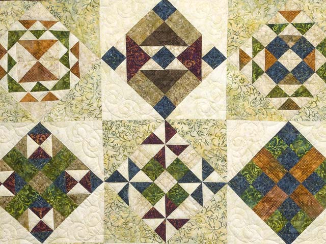 Full Size Batik Patchwork Sampler Quilt Photo 3
