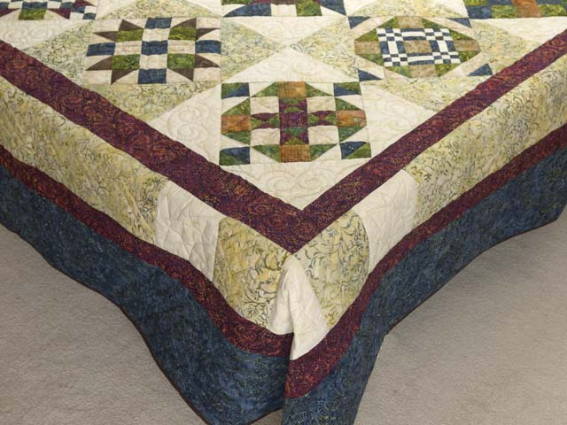 Full Size Batik Patchwork Sampler Quilt Photo 7