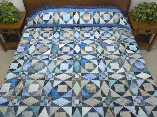 King Watery Blue Storm At Sea Quilt