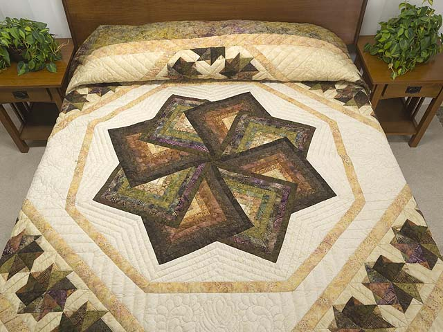 King Hand Painted Star Spin Quilt Photo 1