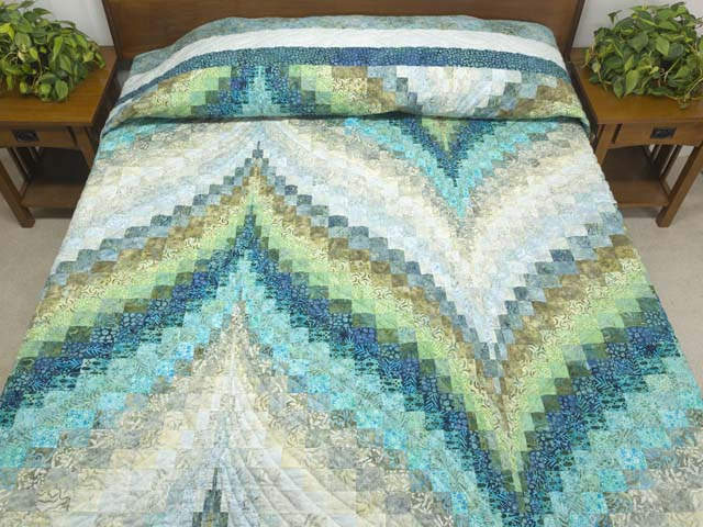 King Hand Painted Teal Blue and Green Bargello Flame Quilt Photo 1