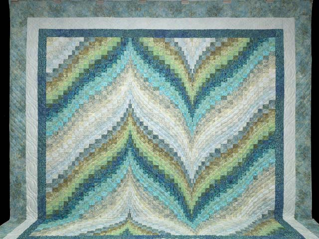 King Hand Painted Teal Blue and Green Bargello Flame Quilt Photo 2
