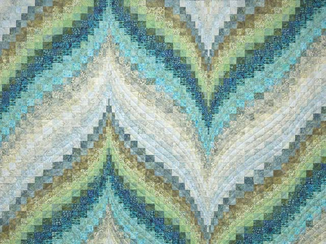 King Hand Painted Teal Blue and Green Bargello Flame Quilt Photo 3