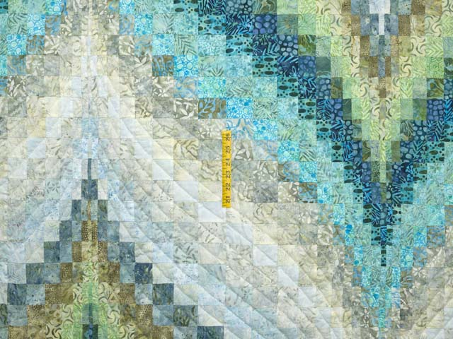King Hand Painted Teal Blue and Green Bargello Flame Quilt Photo 4