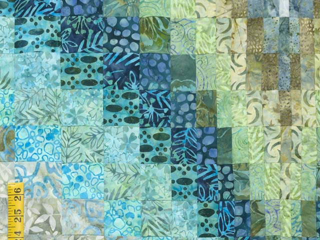 King Hand Painted Teal Blue and Green Bargello Flame Quilt Photo 5
