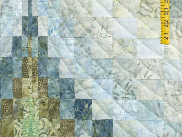 King Hand Painted Teal Blue and Green Bargello Flame Quilt Photo 6