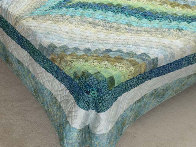 King Hand Painted Teal Blue and Green Bargello Flame Quilt Photo 7