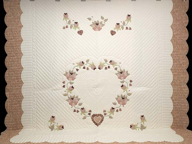 King Dusty Rose Green and Cream Heart of Roses Quilt Photo 2