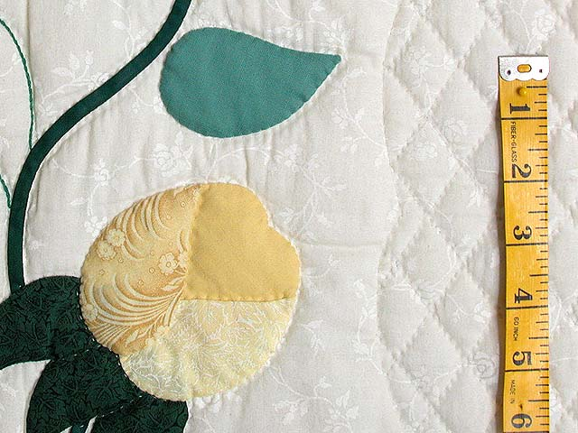 King Blue and Yellow Heart of Roses Quilt Photo 6
