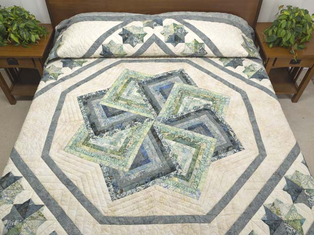 Batik Neutrals and Green Star Spin Quilt Photo 1