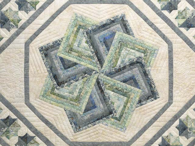 Batik Neutrals and Green Star Spin Quilt Photo 3