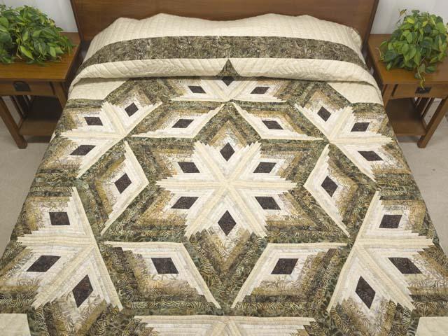 Batik Earthtones Diamond Star Log Cabin  Queen Size Bed Quilt Photo 1