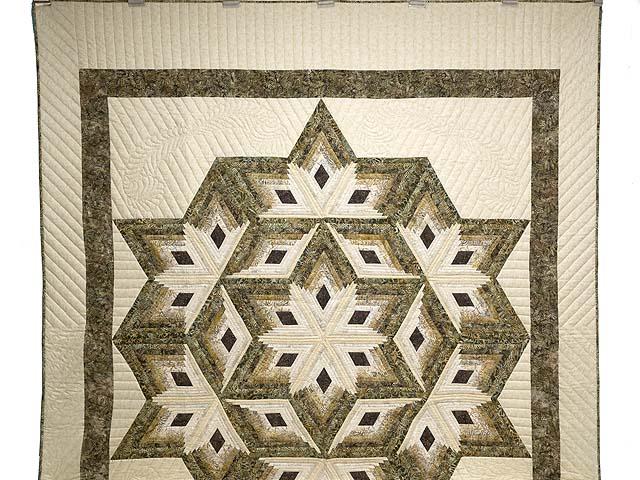 Batik Earthtones Diamond Star Log Cabin  Queen Size Bed Quilt Photo 2