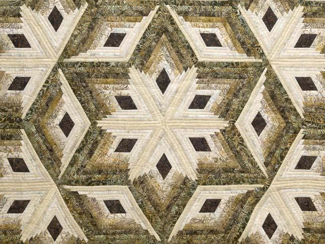 Batik Earthtones Diamond Star Log Cabin  Queen Size Bed Quilt Photo 3