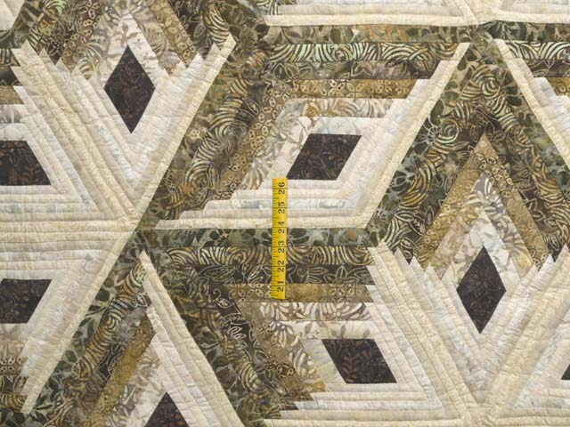 Batik Earthtones Diamond Star Log Cabin  Queen Size Bed Quilt Photo 4