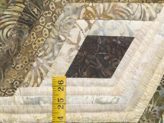 Batik Earthtones Diamond Star Log Cabin  Queen Size Bed Quilt Photo 5