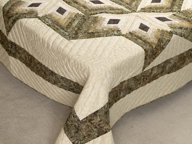 Batik Earthtones Diamond Star Log Cabin  Queen Size Bed Quilt Photo 7