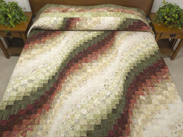Batik Moss Burgundy and Cream Bargello Wave Quilt Photo 1