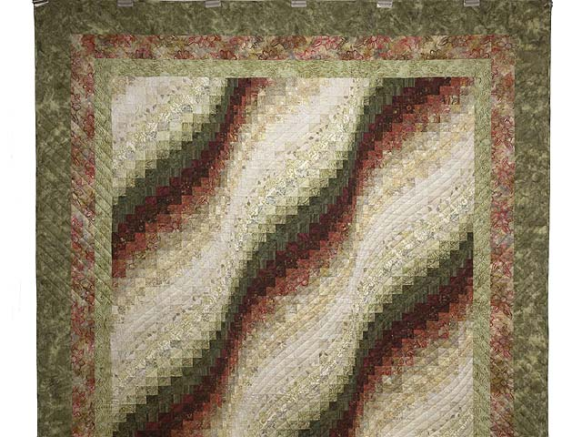 Batik Moss Burgundy and Cream Bargello Wave Quilt Photo 2