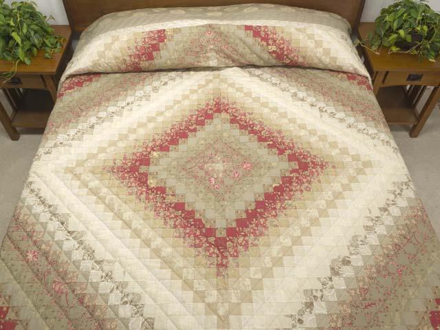 Light Sage and Crimson Trip Around the World Colorsplash Quilt Queen Size Bed Photo 1