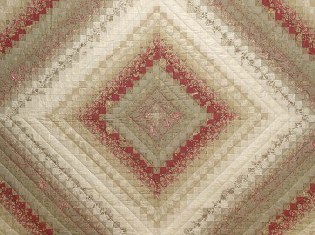 Light Sage and Crimson Trip Around the World Colorsplash Quilt Queen Size Bed Photo 3