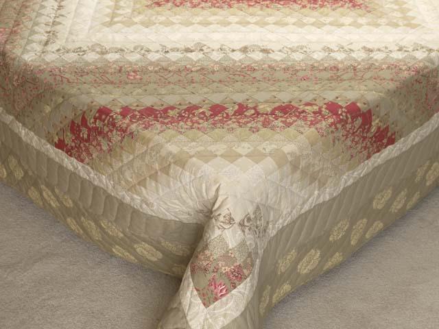 Light Sage and Crimson Trip Around the World Colorsplash Quilt Queen Size Bed Photo 7