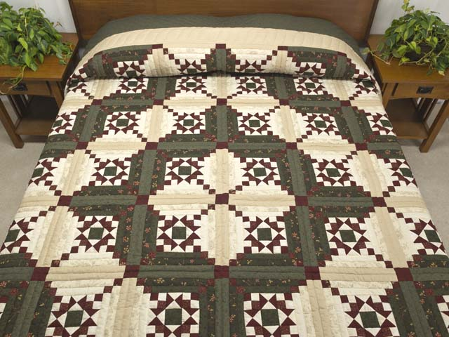 Dark Green Burgundy and Cream Stars in the Cabin Quilt Photo 1
