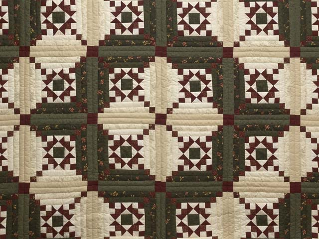 Dark Green Burgundy and Cream Stars in the Cabin Quilt Photo 3