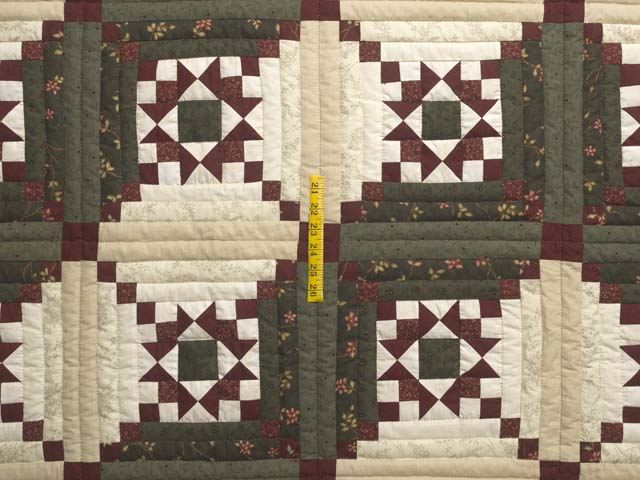 Dark Green Burgundy and Cream Stars in the Cabin Quilt Photo 4