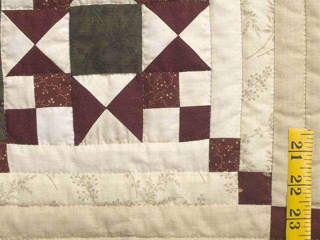 Dark Green Burgundy and Cream Stars in the Cabin Quilt Photo 5