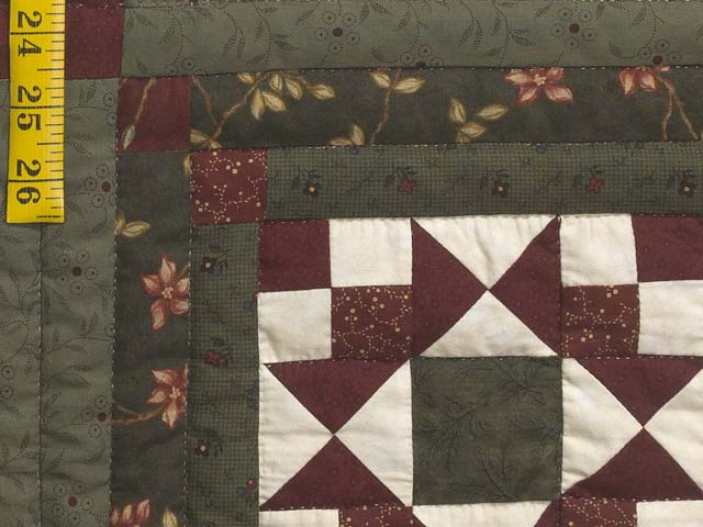Dark Green Burgundy and Cream Stars in the Cabin Quilt Photo 6