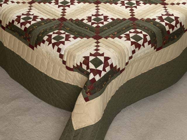Dark Green Burgundy and Cream Stars in the Cabin Quilt Photo 7