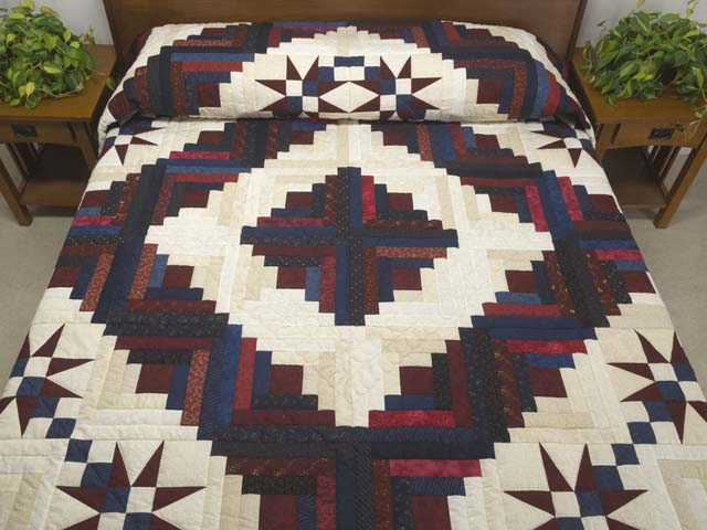 King Navy Burgundy and Cream Captains Quilt Photo 1