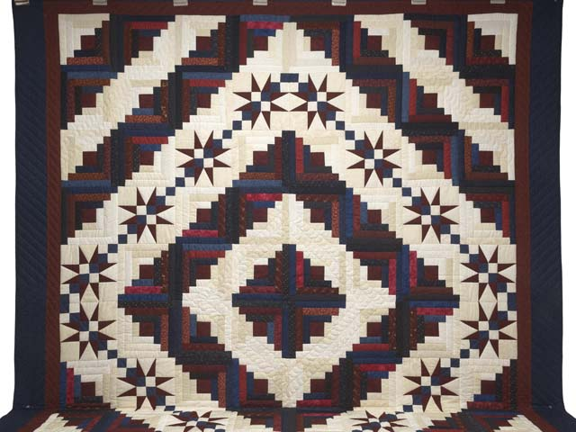 King Navy Burgundy and Cream Captains Quilt Photo 2