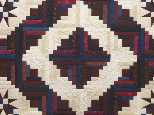 King Navy Burgundy and Cream Captains Quilt Photo 3