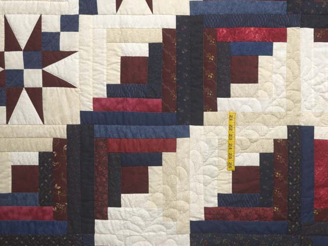 King Navy Burgundy and Cream Captains Quilt Photo 4