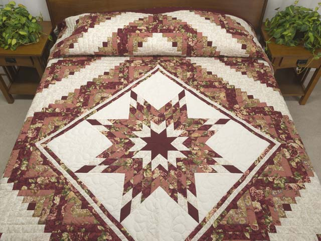 Rose and Cream Lone Star Log Cabin Quilt Photo 1