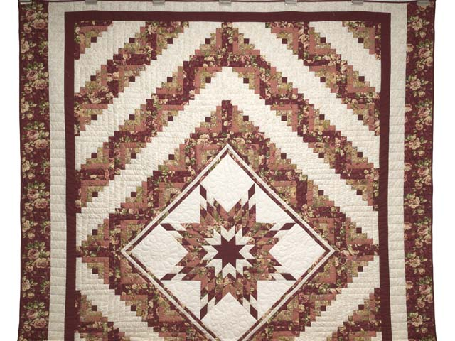 Rose and Cream Lone Star Log Cabin Quilt Photo 2