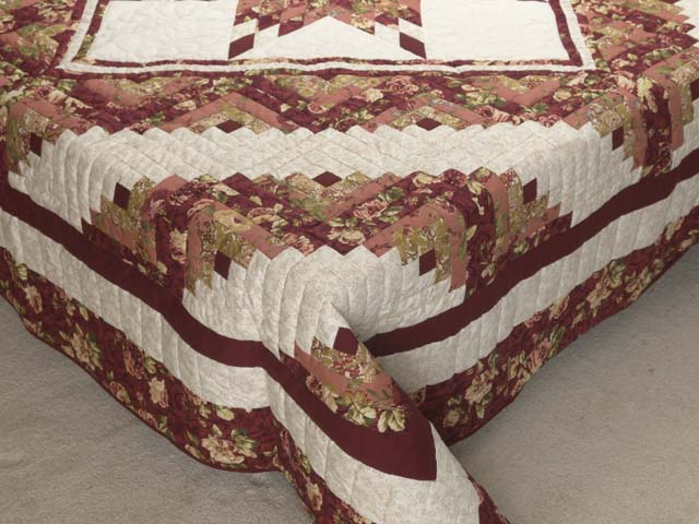 Rose and Cream Lone Star Log Cabin Quilt Photo 7