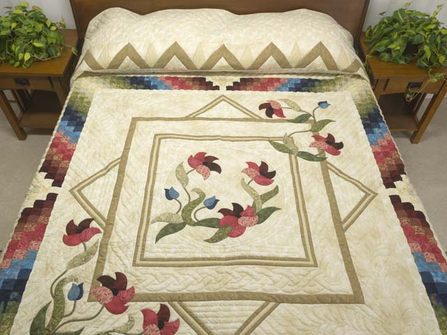 King Neutrals Burgundy Blue and Green Rainbow Reflections Quilt Photo 1