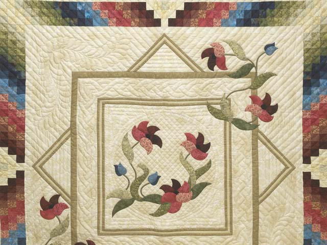 King Neutrals Burgundy Blue and Green Rainbow Reflections Quilt Photo 3