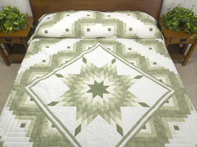 Soft Greens  and Cream Lone Star Log Cabin Quilt Photo 1