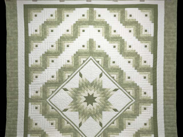 Soft Greens  and Cream Lone Star Log Cabin Quilt Photo 2