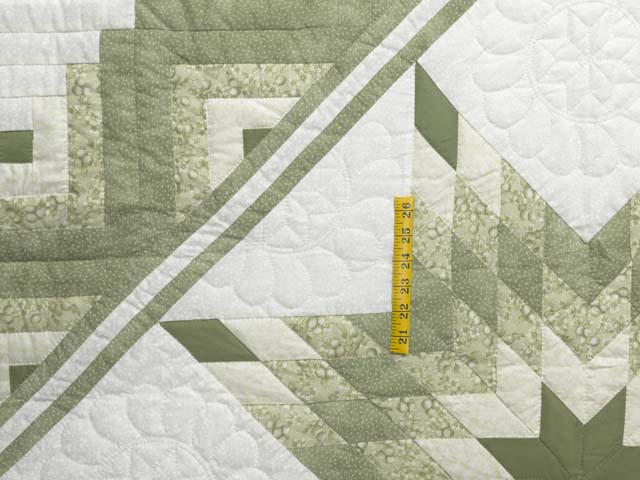 Soft Greens  and Cream Lone Star Log Cabin Quilt Photo 4