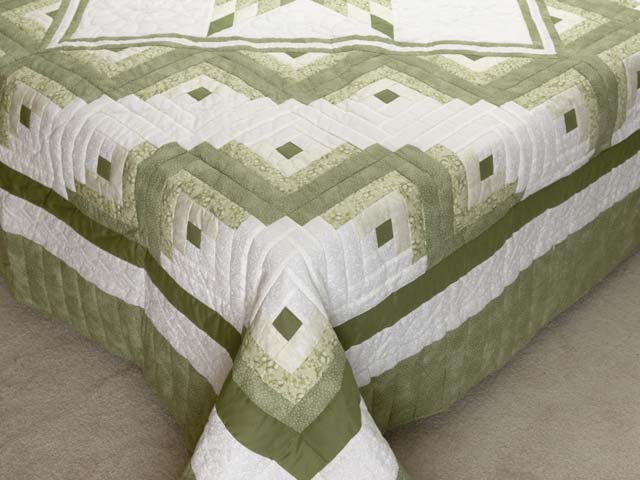 Soft Greens  and Cream Lone Star Log Cabin Quilt Photo 7