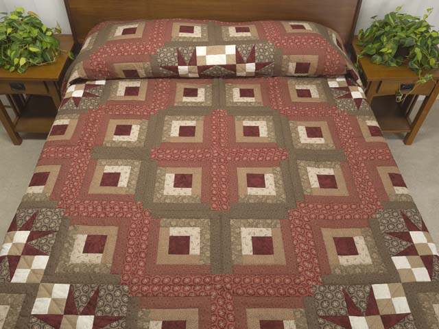 King Brown and Red Captains Quilt Photo 1